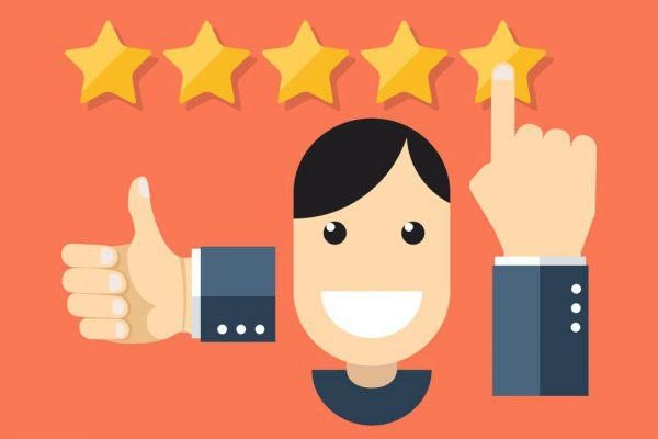 ilustração mostrando avaliação de experiência de compra